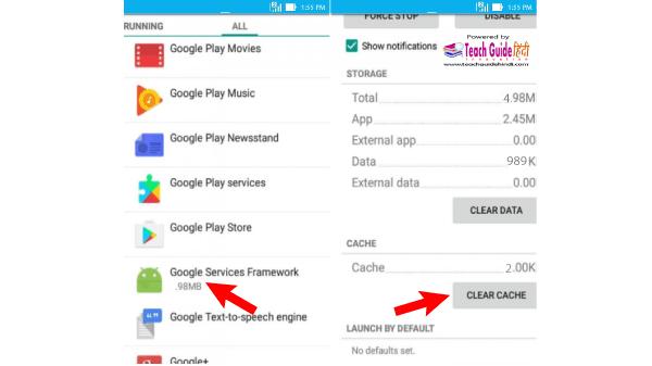 Google Service Framework Cache Ko Kaise clear Kare