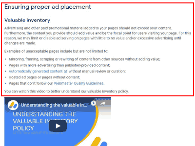 AdSense New policy